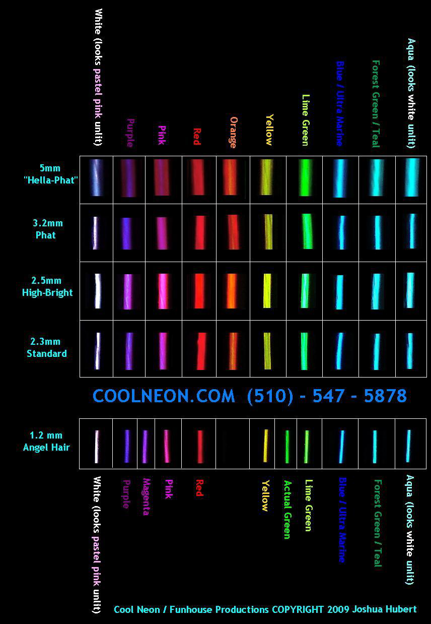 High Bright Hella Phat 5mm Whbhp El Wire Diagram Visit Our Color Chart For An Approximation Of Cool Neon Colors When Lit