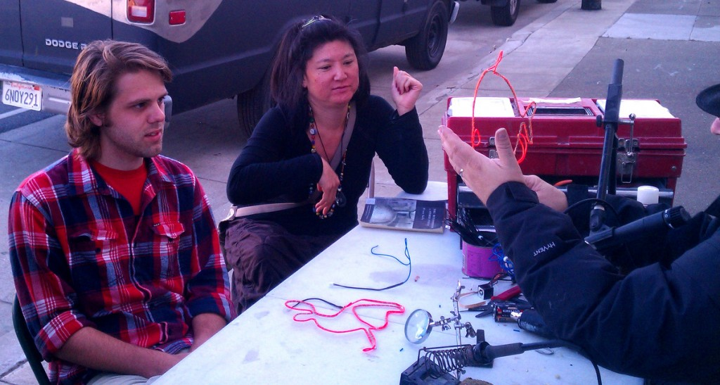 Cool Neon EL Wire soldering demo by Howard - you can learn this too!