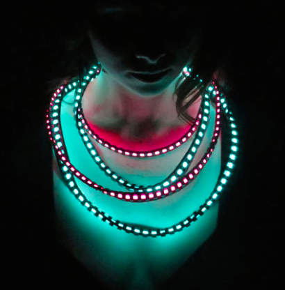 Cool Neon Electroluminescent Wire and Leather Necklace